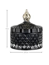 Aufbewahrungsdose Miya, Glas, Schwarz, Goldfarben, Ø 9 x H 11 cm