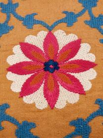 Bestickte Kissenhülle Tabula, 100% Baumwolle, Gelb, Mehrfarbig, 30 x 50 cm
