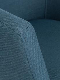 Armlehnstuhl Nora mit Holzbeinen, Bezug: 100% Polyester Der Bezug , Beine: Eichenholz, Webstoff Dunkelblau, Beine Eiche, B 58 x T 58 cm