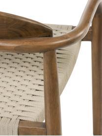 Armlehnstuhl Nina aus Massivholz, Gestell: Massives Eukalyptusholz, Sitzfläche: Polyester, UV-beständig, Beige, Braun, B 56 x T 53 cm
