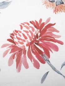 Pościel z satyny bawełnianej Evie, Przód: kwiatowy nadruk Tył: biały, 240 x 220 cm + 2 poduszki 80 x 80 cm