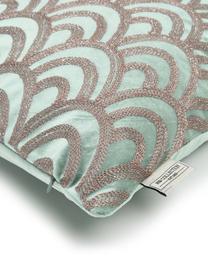 Cuscino con imbottitura in velluto Trole, 100% velluto (poliestere), Verde, argentato, Larg. 40 x Lung. 55 cm