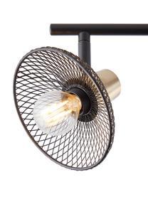 Retro-Deckenstrahler Gordon, Lampenschirm: Metall, Baldachin: Metall, Schwarz, Goldfarben, 49 x 18 cm