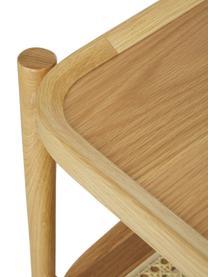 Stolik kawowy z drewna dębowego z plecionką wiedeńską Libby, Blat: fornir z drewna dębowego , Stelaż: lite drewno dębowe, lakie, Jasny brązowy, beżowy, S 110 x W 35 cm