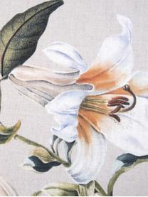 Baumwollsatin-Bettwäsche Flori in Beige mit Blumen-Print, Webart: Satin Fadendichte 210 TC,, Vorderseite: Beige, CremeweißRückseite: Beige, 240 x 220 cm + 2 Kissen 80 x 80 cm