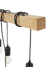 Lampada a sospensione in legno Townshend, Struttura: legno di albero della gom, Baldacchino: acciaio verniciato, Nero, legno, Larg. 150 x Prof. 10 cm