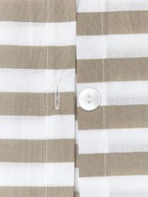 Gestreifte Baumwollperkal-Bettwäsche Yuliya, Webart: Perkal Fadendichte 180 TC, Taupe, Weiß, 240 x 220 cm + 2 Kissen 80 x 80 cm