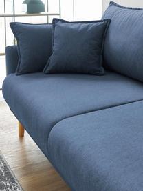Sofa z funkcja spania i miejscem do przechowywania Mia (3-osobowa), Tapicerka: kaszmir, Nogi: drewno bukowe, Ciemny niebieski, S 228 x G 102 cm