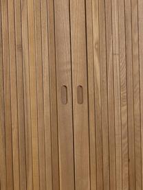 Highboard Barbier im Retro Design mit Schiebetüren, Korpus: Mitteldichte Holzfaserpla, Einlegeböden: Glas, Korpus: Braun<br>Schiebetüren: Eschenholz<br>Einlegeböden: Transparent, 100 x 140 cm