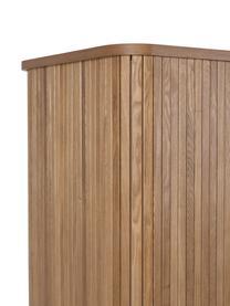 Wysoka komoda retro z przesuwanymi drzwiczkami Barbier, Korpus: płyta pilśniowa średniej , Korpus: brązowy Drzwi przesuwane i nogi: drewno jesionowe Półki: transparentny, S 100 x W 140 cm