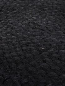 Pouf in juta fatto a mano Bono, Rivestimento: juta, Beige, nero, Ø 50 x Alt. 36 cm