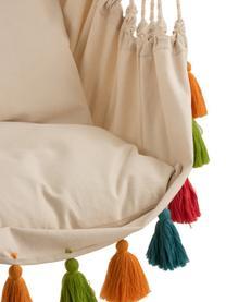 Hängesessel Quast mit bunten Quasten, Stange: Holz, Cremefarben, Mehrfarbig, 128 x 160 cm