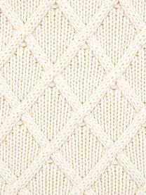 Strick-Kissenhülle Elly mit Rautenmuster, Baumwolle, Cremeweiß, 40 x 40 cm