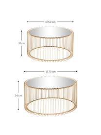 Komplet stolików kawowych z metalu ze szklanym blatem Wire, 2 elem., Stelaż: metal malowany proszkowo, Blat: szkło hartowane, Złoty, Komplet z różnymi rozmiarami