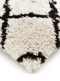 Flauschige Kissenhülle Naima in Beige/Schwarz, Vorderseite: 100% Polyester, Rückseite: 100% Baumwolle, Beige,Schwarz, 45 x 45 cm