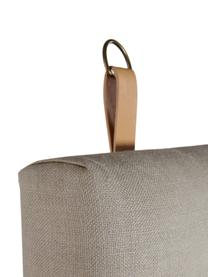 Testiera imbottita con cinturini per appendere Amsterdam, Rivestimento: 100% lino, Struttura: compensato, Beige, Larg. 120 x Alt. 60 cm