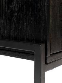 Credenza alta in legno e metallo Hardy, Struttura: pannello di fibra a media, Gambe: metallo rivestito, Nero, Larg. 80 x Alt. 180 cm