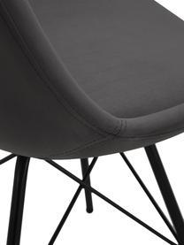 Samt-Polsterstühle Eris, 2 Stück, Bezug: Polyestersamt 25.000 Sche, Beine: Metall, pulverbeschichtet, Samt Dunkelgrau, Beine Schwarz, B 49 x T 54 cm