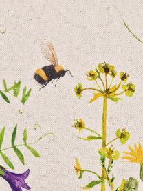 Wendekissenhülle Biene & Co, 85% Baumwolle, 15% Leinen, Beige, Mehrfarbig, 50 x 50 cm