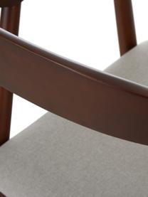 Armlehnstuhl Lloyd aus dunklem Birkenholz, Bezug: Polyester Der hochwertige, Gestell: Birkenholz, Sperrholz, Beige, Birke, B 57 x T 54 cm