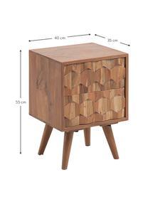 Nachttisch Khaleesi mit Schublade, Akazienholz, massiv, naturbelassen, Akazienholz, 40 x 55 cm