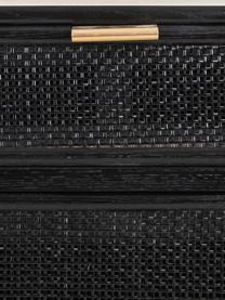 Comodino in legno Cayetana Fichy, Piedini: legno di bambù verniciato, Nero, Larg. 42 x Alt. 71 cm