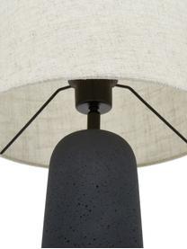 Duża lampa stołowa z betonową podstawą Kaya, Klosz: beżowy Podstawa lampy: ciemny szary Kabel: czarny, Ø 29 x W 52 cm