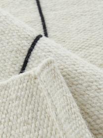 Handgeweven wollen vloerkleed Neru met abstract patroon, 100% wol Bij wollen vloerkleden kunnen vezels loskomen in de eerste weken van gebruik, dit neemt af door dagelijks gebruik en pluizen wordt verminderd., Natuurwit,  zwart, B 200 x L 300 cm (maat L)