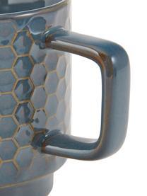 Große gemusterte Tassen Lara in verschiedenen Größen, 4er-Set, Steingut, Blaugrau, Braun, Ø 8 x H 8 cm
