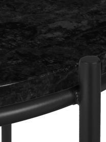 Tavolino rotondo con piano in marmo Ella, Struttura: metallo verniciato a polv, Piano d'appoggio: marmo nero Struttura: nero opaco, Ø 40 x Alt. 50 cm