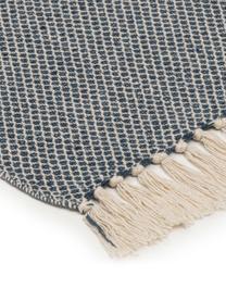 Pled z frędzlami Thea, 58% bawełna, 22% poliester, 12% akryl, 4% rayon, 4% nylon, Ciemny niebieski, jasny beżowy, S 140 x D 170 cm