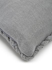 Federa arredo a maglia grossa fatta a mano Adyna, 100% poliacrilico, Grigio chiaro, Larg. 30 x Lung. 50 cm