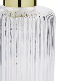 Dispenser sapone in vetro Gulji, Contenitore: vetro, Testa della pompa: materiale sintetico, Trasparente, dorato, Ø 7 x Alt. 17 cm