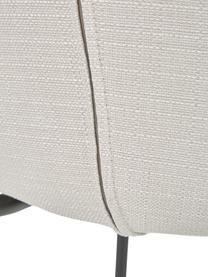 Sedia imbottita in tessuto bianco crema Tess, Rivestimento: poliestere Il rivestiment, Gambe: metallo verniciato a polv, Tessuto bianco crema, nero, Larg. 49 x Prof. 64 cm
