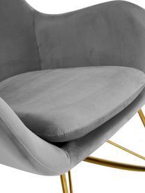 Samt-Schaukelstuhl Wing in Grau, Bezug: Samt (Polyester) Der Bezu, Gestell: Metall, galvanisiert, Samt Grau, B 66 x T 102 cm