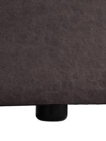 Modulaire bank Lennon (4-zits) in bruingrijs van gerecycled leer, Bekleding: gerecycled leer (70% leer, Frame: massief grenenhout, multi, Poten: kunststof De poten bevind, Leer bruingrijs, 327 x 119 cm