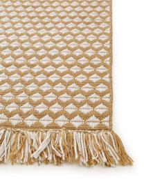 In- & outdoor vloerkleed Morty met ethnopatroon en franjes, 100% polyester (gerecycled PET), Geel, gebroken wit, B 80 x L 150 cm (maat XS)