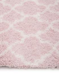 Passatoia a pelo lungo rosa cipria/bianco crema Mona, Retro: 78% juta, 14% cotone, 8% , Rosa cipria, bianco crema, Larg. 80 x Lung. 250 cm