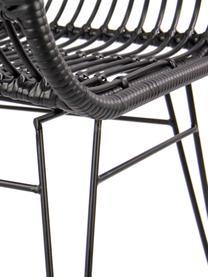 Polyrotan armstoelen Costa, 2 stuks, Zitvlak: polyethyleen-vlechtwerk, Frame: gepoedercoat metaal, Zwart, poten zwart, B 59 x D 58 cm