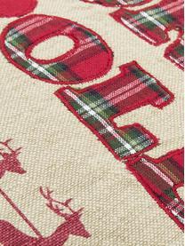 Bestickte Wendekissenhülle North Pole mit karierter Rückseite, Baumwolle, Vorderseite: Beige, Rot, DunkelgrünRückseite: Rot, Dunkelgrün kariert, 45 x 45 cm