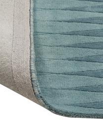 Handgetuft Design vloerkleed Acacia met kleurverloop in blauw, Bovenzijde: wol, Onderzijde: katoen, Blauwtinten, beigetinten, B 140 x L 200 cm (maat S)