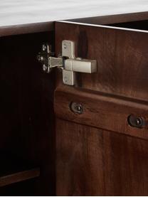 Dressoir Lyle met deuren van massief mangohout, Frame: gelakt massief mangohout, Donker gelakt mangohout, 150 x 72 cm