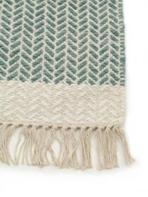 Passatoia in lana verde/crema tessuta a mano con frange Kim, 80% lana, 20% cotone Nel caso dei tappeti di lana, le fibre possono staccarsi nelle prime settimane di utilizzo, questo e la formazione di lanugine si riducono con l'uso quotidiano, Verde, crema, Larg. 80 x Lung. 250 cm
