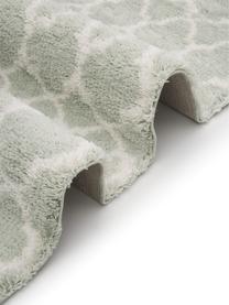 Hoogpolig vloerkleed Mona in mintgroen/crèmewit, Bovenzijde: 100% polypropyleen, Onderzijde: 78% jute, 14% katoen, 8% , Mintgroen, crèmewit, B 200 x L 300 cm (maat L)