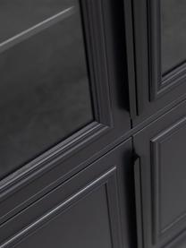 Schwarzer Vitrinenschrank Organize, Korpus: Kiefernholz, massiv, lack, Griffe: Metall, beschichtet, Schwarz, 110 x 215 cm