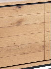 Credenza con finitura in quercia e ante Dalarna, Piedini: metallo verniciato a polv, Quercia selvatica, nero, Larg. 197 x Alt. 76 cm