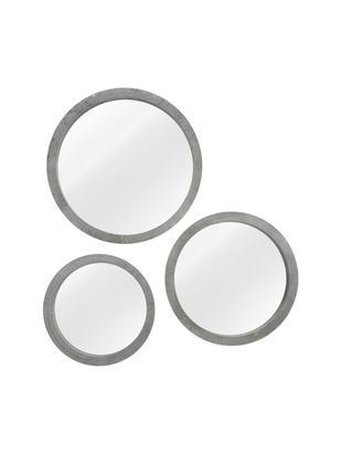 Ronde wandspiegelset Brest met grijze lijst, 3-delig, Frame: gelakt MDF, Lijst: grijs. Voorzijde: spiegelglas, Verschillende formaten