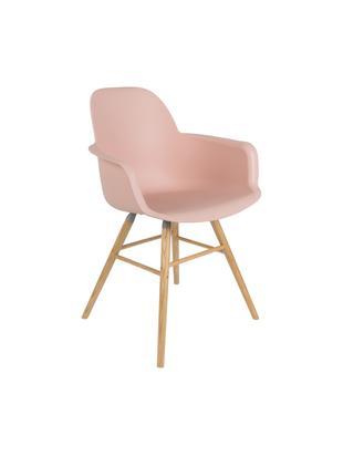 Sedia con braccioli  Albert Kuip, Seduta: 100% polipropilene, Piedini: legno di frassino, Seduta: rosa Piedini: legno di frassino, Larg. 59 x Alt. 82 cm