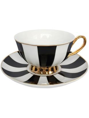 Teetasse mit Untertasse Stripy, Bone China, vergoldet, Schwarz, Weiss<br>Rand und Henkel: Gold, Ø 15 x H 6 cm
