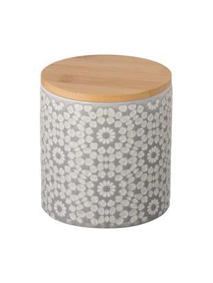 Contenitore con coperchio Abella, Contenitore: ceramica, Coperchio: legno di bambù, Contenitore: grigio chiaro, bianco<br>Coperchio: legno di bambù, Ø 11 x Alt. 12 cm